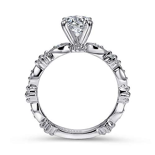 Leona 14k White Gold Round Straight Engagement Ring angle 2