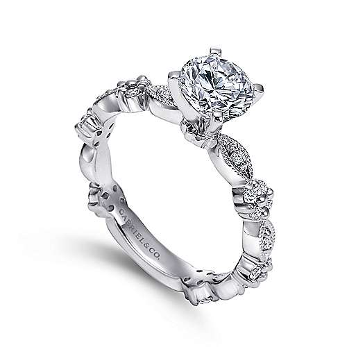 Leona 14k White Gold Round Straight Engagement Ring angle 3
