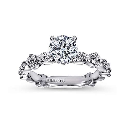 Leona 14k White Gold Round Straight Engagement Ring angle 5