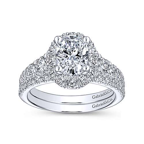 Leonia 14k White Gold Oval Halo Engagement Ring angle 4