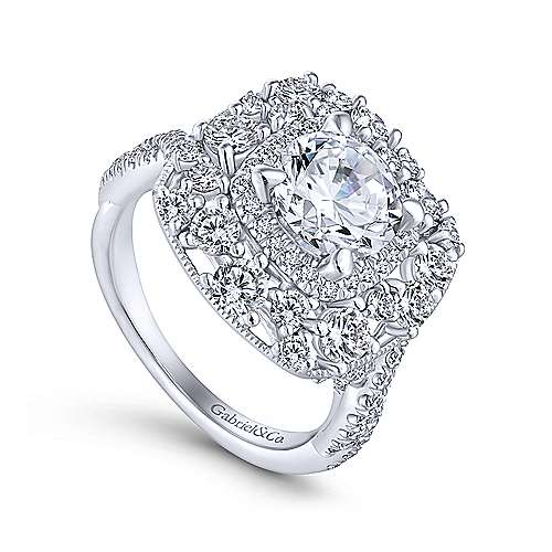 Leslie 18k White Gold Round Double Halo Engagement Ring angle 3