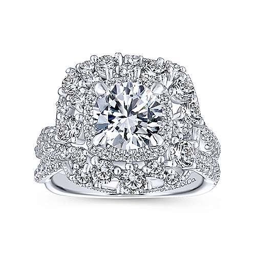 Leslie 18k White Gold Round Double Halo Engagement Ring angle 4