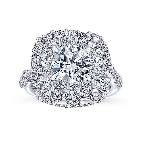 Leslie 18k White Gold Round Double Halo Engagement Ring angle 5