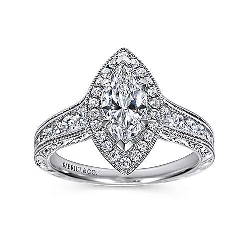 leticia 14k white gold marquise halo engagement ring angle 5 - Marquise Wedding Rings