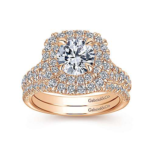 Lexie 14k Pink Gold Round Halo Engagement Ring angle 4