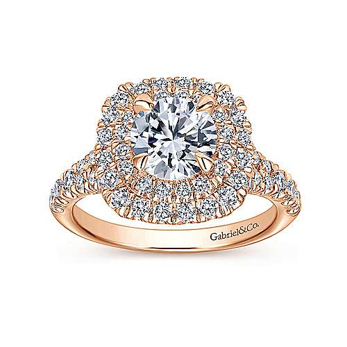 Lexie 14k Pink Gold Round Halo Engagement Ring angle 5