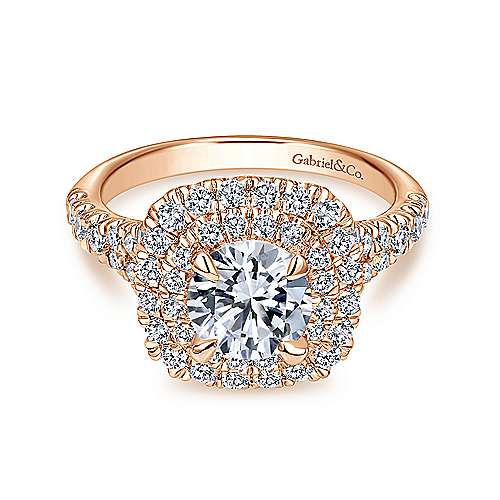 Lexie 14k Rose Gold Round Double Halo Engagement Ring