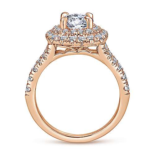 Lexie 14k Rose Gold Round Double Halo Engagement Ring angle 2