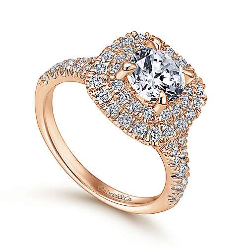 Lexie 14k Rose Gold Round Double Halo Engagement Ring angle 3