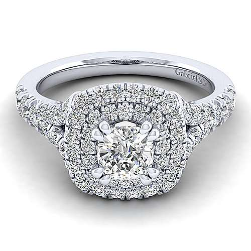 Gabriel - Lexie 14k White Gold Cushion Cut Double Halo Engagement Ring