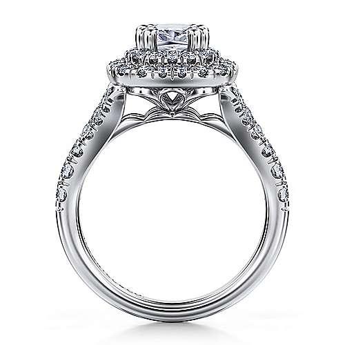 Lexie 14k White Gold Cushion Cut Double Halo Engagement Ring angle 2