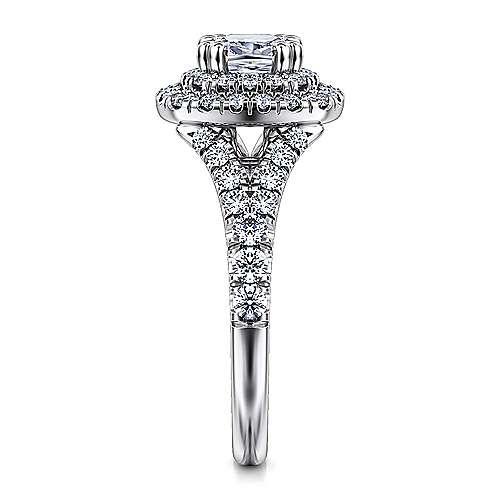 Lexie 14k White Gold Cushion Cut Double Halo Engagement Ring angle 5