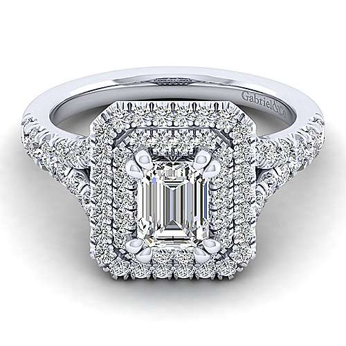 Gabriel - Lexie 14k White Gold Emerald Cut Double Halo Engagement Ring
