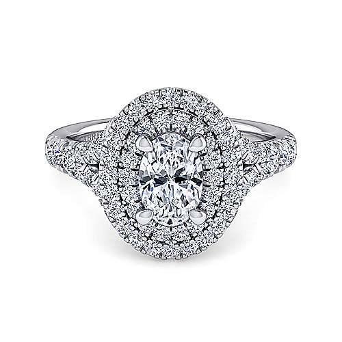 Gabriel - Lexie 14k White Gold Oval Double Halo Engagement Ring