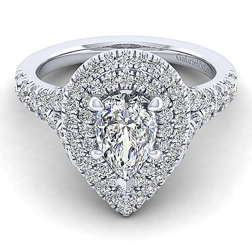 Gabriel - Lexie 14k White Gold Pear Shape Double Halo Engagement Ring