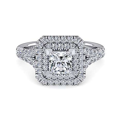 Gabriel - Lexie 14k White Gold Princess Cut Double Halo Engagement Ring