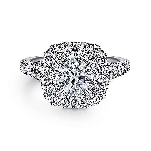 Gabriel - Lexie 14k White Gold Round Double Halo Engagement Ring