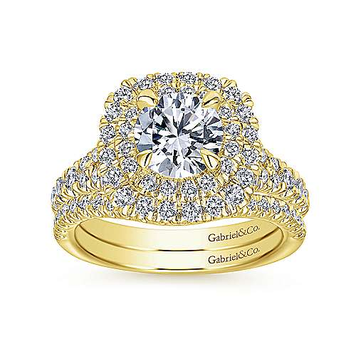 Lexie 14k Yellow Gold Round Double Halo Engagement Ring angle 4