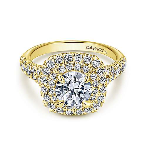 Lexie 14k Yellow Gold Round Halo Engagement Ring angle 1