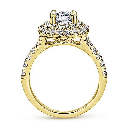 Lexie 14k Yellow Gold Round Halo Engagement Ring angle 2