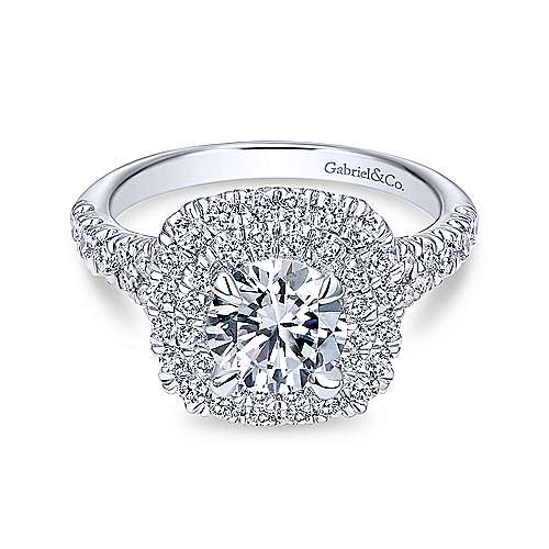 Gabriel - Lexie 18k White Gold Round Double Halo Engagement Ring