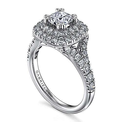 Lexie Platinum Cushion Cut Double Halo Engagement Ring angle 3