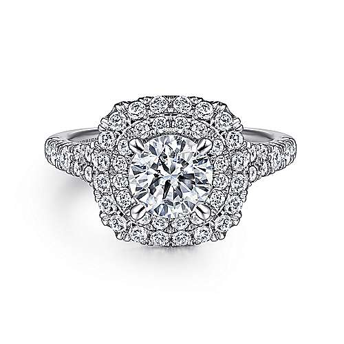 Gabriel - Lexie Platinum Round Double Halo Engagement Ring