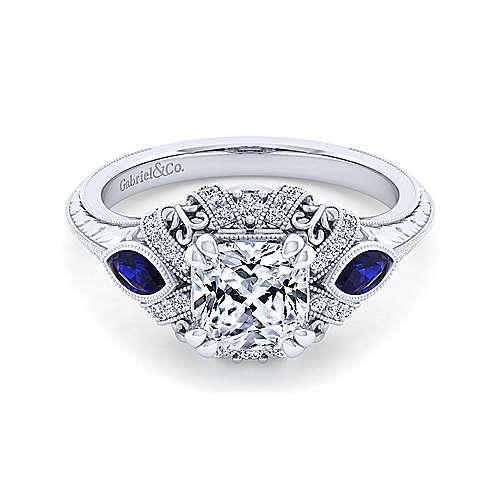 Gabriel - Lexington 14k White Gold Cushion Cut 3 Stones Halo Engagement Ring