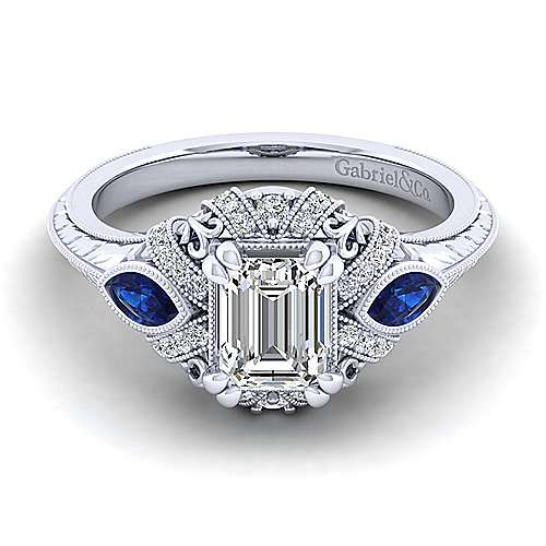 Gabriel - Lexington 14k White Gold Emerald Cut 3 Stones Halo Engagement Ring