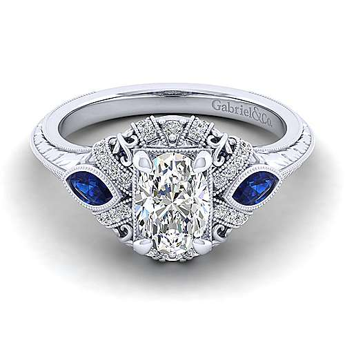 Gabriel - Lexington 14k White Gold Oval 3 Stones Halo Engagement Ring