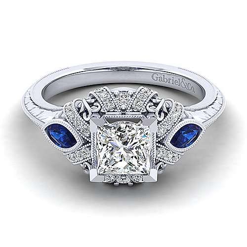 Gabriel - Lexington 14k White Gold Princess Cut 3 Stones Halo Engagement Ring