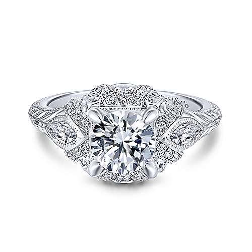 Gabriel - Lexington 14k White Gold Round 3 Stones Halo Engagement Ring