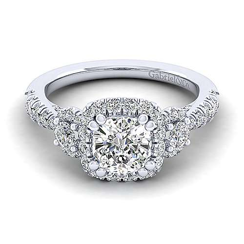 Gabriel - Liana 14k White Gold Cushion Cut 3 Stones Halo Engagement Ring