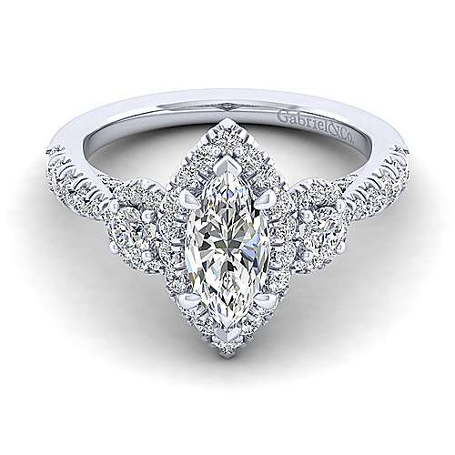 Gabriel - Liana 14k White Gold Marquise  3 Stones Halo Engagement Ring