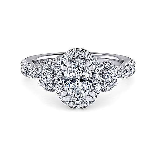 Gabriel - Liana 14k White Gold Oval 3 Stones Halo Engagement Ring