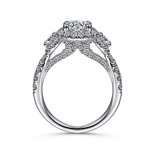 Liana 14k White Gold Round 3 Stones Halo Engagement Ring angle 2