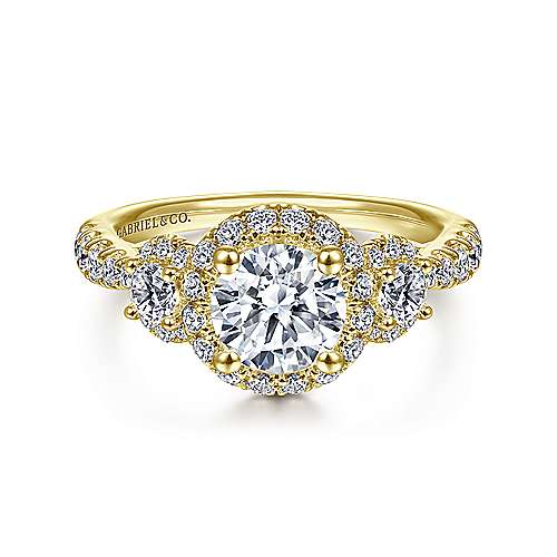 Gabriel - Liana 14k Yellow Gold Round 3 Stones Halo Engagement Ring