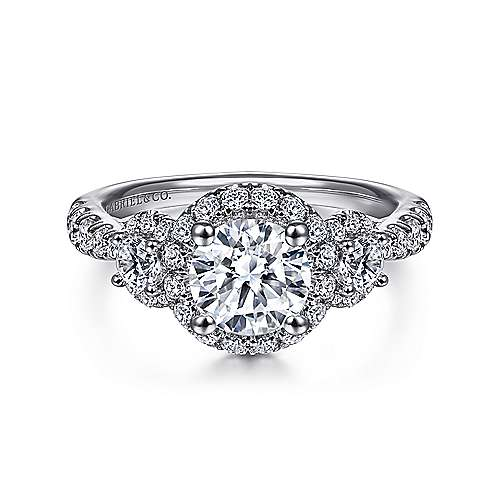 Gabriel - Liana 18k White Gold Round 3 Stones Halo Engagement Ring