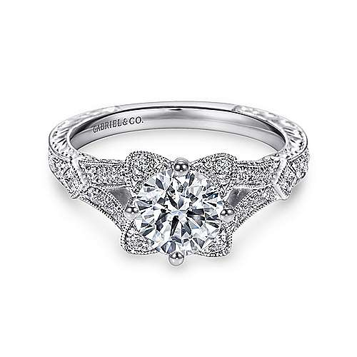 Liberty 14k White Gold Round Split Shank Engagement Ring angle 1