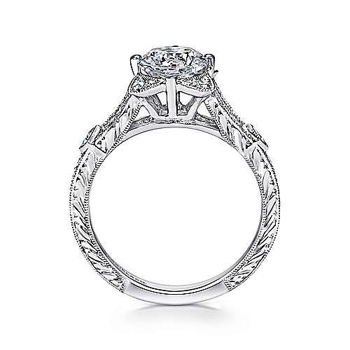 Liberty 14k White Gold Round Split Shank Engagement Ring angle 2