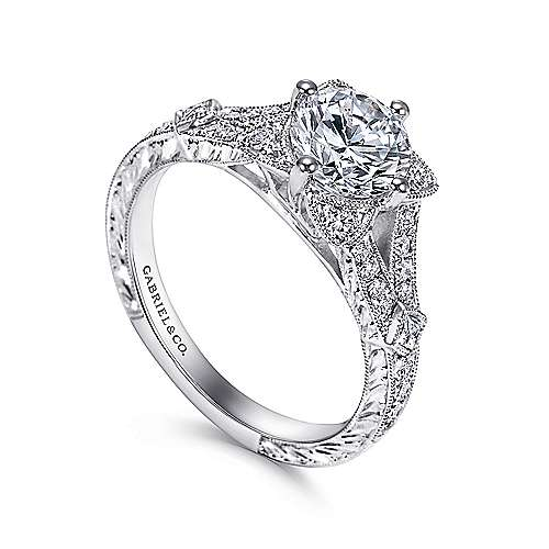 Liberty 14k White Gold Round Split Shank Engagement Ring angle 3