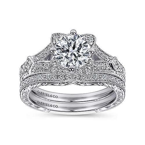 Liberty 14k White Gold Round Split Shank Engagement Ring angle 4