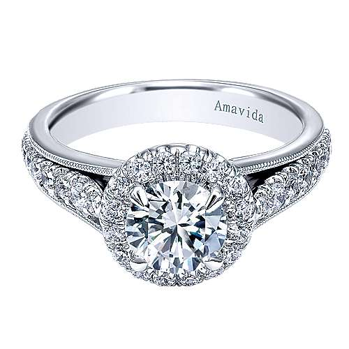 Gabriel - Lifetime 18k White Gold Round Halo Engagement Ring