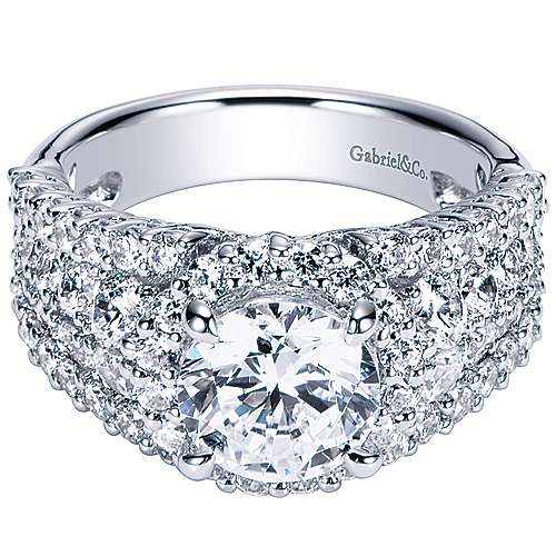 Gabriel - Light 18k White Gold Round Halo Engagement Ring