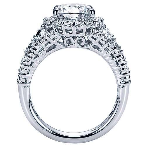Light 18k White Gold Round Halo Engagement Ring