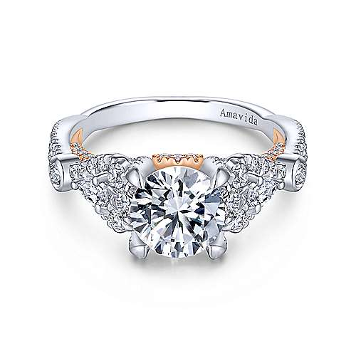 Gabriel - Lilac 18k White And Rose Gold Round Twisted Engagement Ring