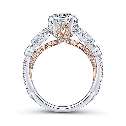 Lilac 18k White And Rose Gold Round Twisted Engagement Ring angle 2