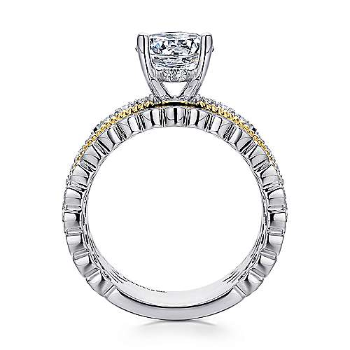 Lilith 18k Yellow And White Gold Round Straight Engagement Ring