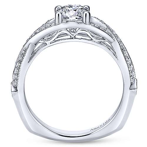 Lillian 18k White Gold Round Twisted Engagement Ring angle 2