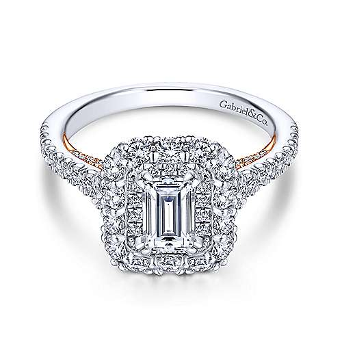Gabriel - Lilliana 14k White And Rose Gold Emerald Cut Double Halo Engagement Ring